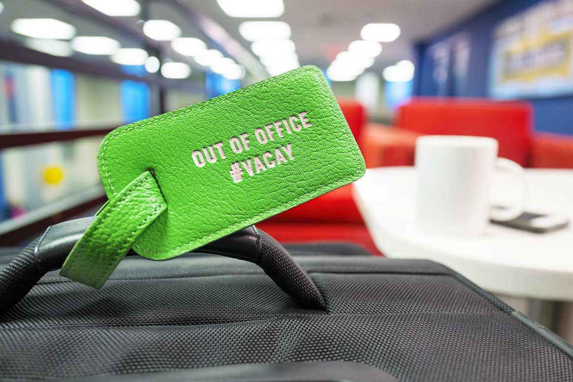 Out of the office luggage tag