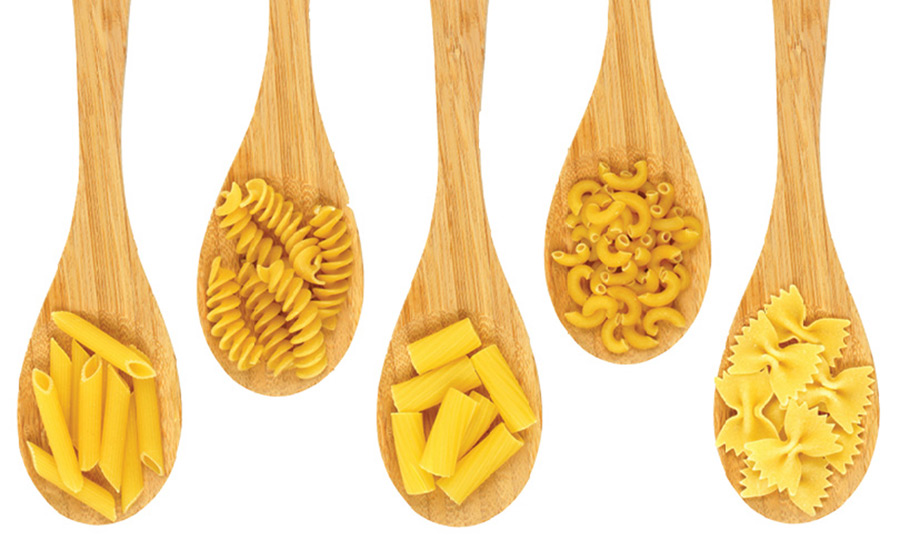 several spoons of pasta