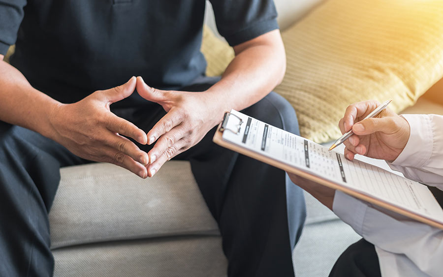 male patient having consultation with doctor