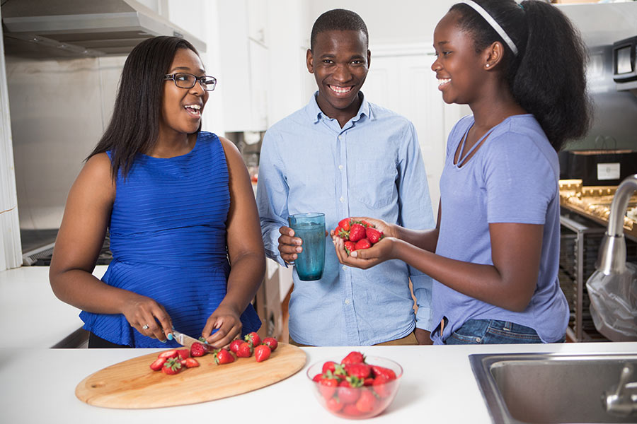 young adults in the kitchen